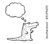 cartoon crocodile with thought... | Shutterstock .eps vector #85199692