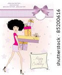 birthday card   pretty young... | Shutterstock .eps vector #85200616