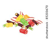 colourful sweets on the white... | Shutterstock .eps vector #85203670
