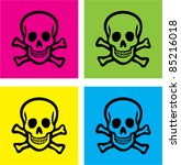 colorful skull icons  signs ... | Shutterstock .eps vector #85216018