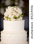 wedding cake with flowers on top | Shutterstock . vector #85219456