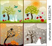 four seasons set with tree ... | Shutterstock . vector #85228174