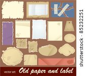 vector set  old paper and label.... | Shutterstock .eps vector #85232251