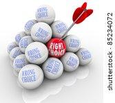an arrow hits a ball marked... | Shutterstock . vector #85234072