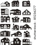 Stock vector set of house silhouettes 85236277
