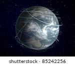 planet earth with global connection - stock photo