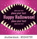 kids halloween jaw card pink - stock vector