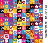 cute butterflies beetles flowers pattern - stock vector