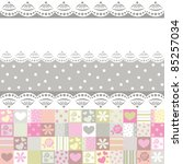 fabric with roses and hearts   Shutterstock . vector #85257034