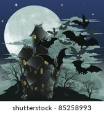 Halloween scene. Illustration of a spooky haunted ghost house with bats flying out of it against the moon. - stock photo