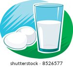 milk in glass and eggs  | Shutterstock .eps vector #8526577