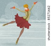 beautiful ice skater | Shutterstock .eps vector #85271662