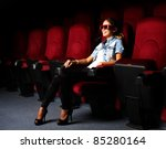 one young girl watching movie... | Shutterstock . vector #85280164