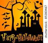 vector cute and funny halloween ... | Shutterstock .eps vector #85283467