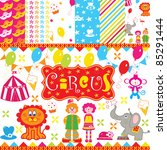 cute circus party scrapbook | Shutterstock .eps vector #85291444
