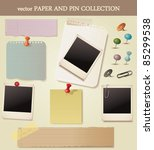 note paper and pins set. vector | Shutterstock .eps vector #85299538