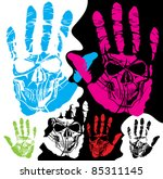 vector skull and hand of...