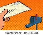 pop art hand mail | Shutterstock .eps vector #85318333