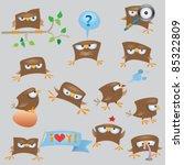 cartoon funny sparrow birds set | Shutterstock .eps vector #85322809