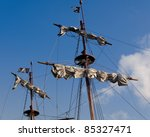 Sails And Flags Of A Pirate Ship