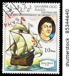 Small photo of SAHARA OCC RASD - CIRCA 1990: A stamp printed in Sahara OCC. R.A.S.D shows image of a ship, 500th anniversary of the discovery America, circa 1990