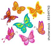 Stock vector set various color butterflies on a white background vector 85349743