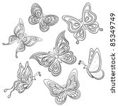 Stock vector set various butterflies monochrome contours on a white background vector 85349749