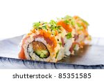 Colorful sushi roll with sashimi grade, spicy ahi tuna. - stock photo