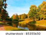 Beautiful Autumn Park At Sunny...