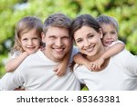 children with parents in the... | Shutterstock . vector #85363381