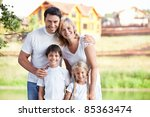 happy family homes on the... | Shutterstock . vector #85363474