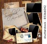 vintage scrapbook composition... | Shutterstock .eps vector #85366042