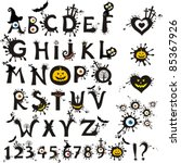 decorative scary style alphabet ... | Shutterstock .eps vector #85367926