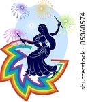 garba rainbow  fireworks poster ... | Shutterstock .eps vector #85368574