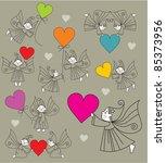 set vector elves with hearts   Shutterstock .eps vector #85373956