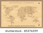 World map with major mountain peaks