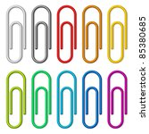colorful paper clips set... | Shutterstock .eps vector #85380685