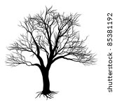 An illustration of a scary bare black tree silhouette - stock photo