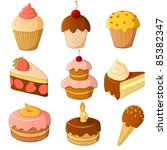 set of cartoon cake isolated on ... | Shutterstock .eps vector #85382347