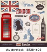 vector set  london   variety of ... | Shutterstock .eps vector #85384603