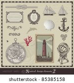 vector set  nautical design... | Shutterstock .eps vector #85385158