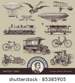 Stock vector vintage means of transportation set 85385905