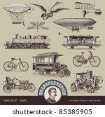 vintage means of transportation ... | Shutterstock .eps vector #85385905