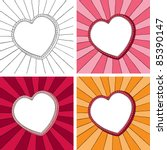 doodle heart frame with sunbeam ... | Shutterstock .eps vector #85390147