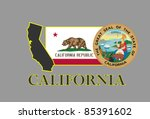 California State Map  Flag ...
