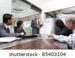 young businessman giving...   Shutterstock . vector #85403104