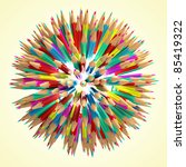 pencil ball 3d render | Shutterstock . vector #85419322