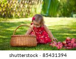 little girl collects the apples ... | Shutterstock . vector #85431394