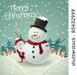 santa and snowman christmas card
