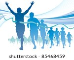 group of marathon runners on... | Shutterstock .eps vector #85468459